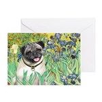Irises / Pug Greeting Card