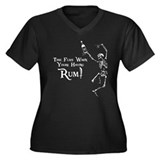 Time Flies/Having Rum Women's Plus Size V-Neck Dar