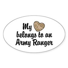 My Heart Belongs To an Army Ranger Oval Decal