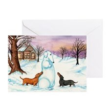 Snow Weiner Dog Christmas Cards (10)
