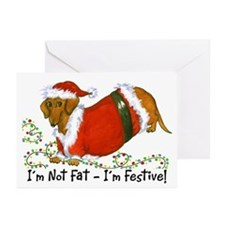 Chubby Santa Dachshund Greeting Cards (Pk of 10)