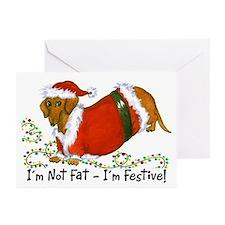 Chubby Santa Dachshund Greeting Cards (Pk of 10)