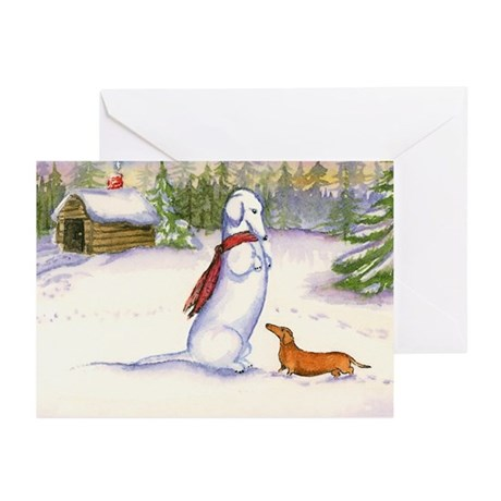 Snow Dachshund Christmas Cards (10)