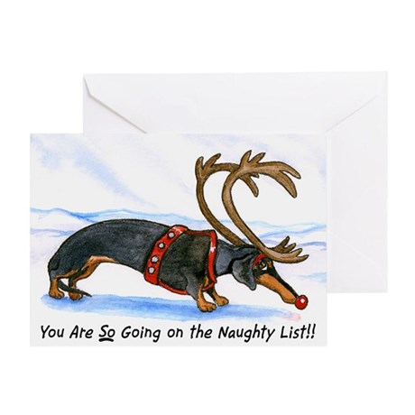 Naughty Dachshund Christmas Card