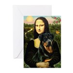 Mona Lisa/Rottweiler Greeting Cards (Pk of 20)