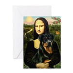 Mona Lisa/Rottweiler Greeting Card