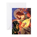Mandolin Angel/Rottweiler Greeting Cards (Pk of 20