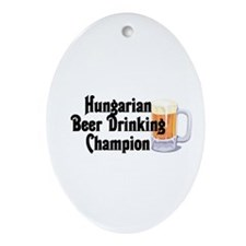 Hungarian Beer Champ Oval Ornament