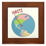 Haiti Map Framed Tile