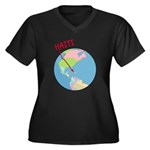 Haiti Map Women's Plus Size V-Neck Dark T-Shirt