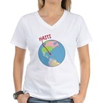 Haiti Map Women's V-Neck T-Shirt