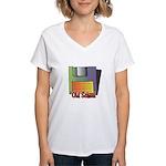 Old School Floppy Disk Women's V-Neck T-Shirt