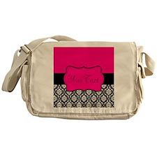 Personalizable Pink and Black Damask Messenger Bag