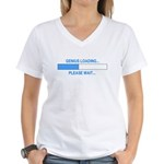 GENIUS LOADING... Women's V-Neck T-Shirt