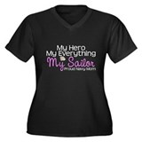 My Everything Navy Mom Women's Plus Size V-Neck Da