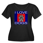 I Love Dogs Women's Plus Size Scoop Neck Dark T-Sh