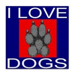 I Love Dogs Tile Coaster