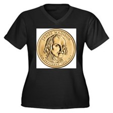 James Madison Dollar Coin Women's Plus Size V-Neck