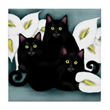 3 BLACK CATS CALLAS Tile Coaster