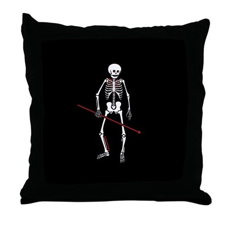 Hunting Skeleton Throw Pillow