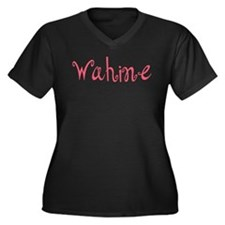 Wahine Women's Plus Size V-Neck Dark T-Shirt
