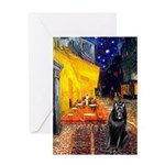 Cafe & Schipperke Greeting Card