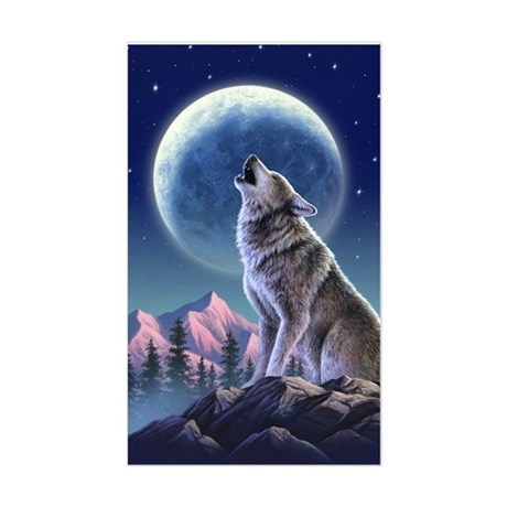 Howling Wolf 1 Rectangle Sticker