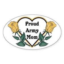 Yellow Rose - Army Mom Oval Decal