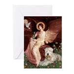 Seated Angel & Wheaten Greeting Cards (Pk of 20)