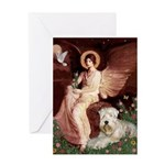Seated Angel & Wheaten Greeting Card