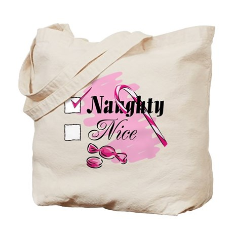 Naughty Candy Cane Tote Bag