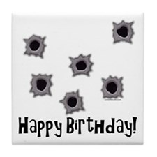Happy Birthday Bullets Tile Coaster