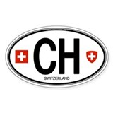 Switzerland Euro Oval Oval Bumper Stickers