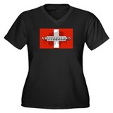 Switzerland Flag Plus Women's Plus Size V-Neck Dar