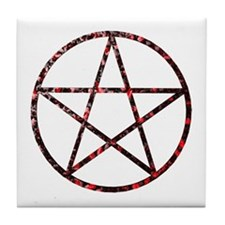 Rose Flowered Pentagram Tile Coaster
