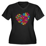 Love & Peace in Heart Women's Plus Size V-Neck Dar