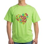 Love & Peace in Heart Green T-Shirt
