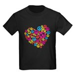 Love & Peace in Heart Kids Dark T-Shirt