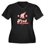 Fred for President Women's Plus Size V-Neck Dark T