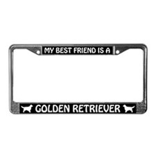 My Best Friend Is A Golden Retriever License Frame