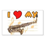 I *HEART* My Sax Rectangle Sticker