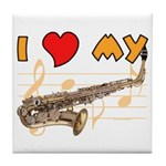 I *HEART* My Sax Tile Coaster