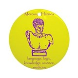 Mercury Yellow Background Ornament (Round)