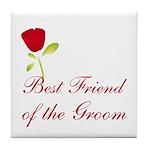 Red Groom's Best Friend Tile Coaster