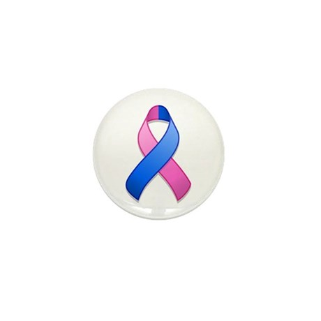 Blue and Pink Awareness Ribbon Mini Button