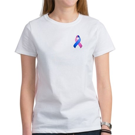 Blue and Pink Awareness Ribbon Women's T-Shirt