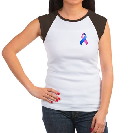 Blue and Pink Awareness Ribbon Women's Cap Sleeve