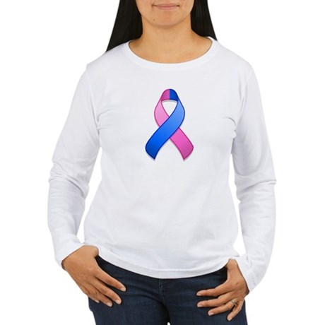 Blue and Pink Awareness Ribbon Women's Long Sleeve