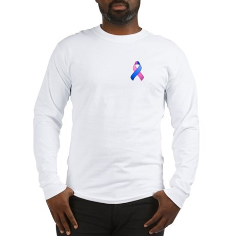 Blue and Pink Awareness Ribbon Long Sleeve T-Shirt