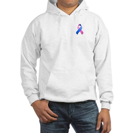 Blue and Pink Awareness Ribbon Hooded Sweatshirt